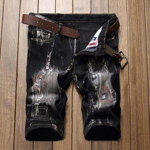 Los hombres del diseñador bordado pantalones cortos de mezclilla negro apenado pantalones vaqueros cortos blanqueados pantalones cortos de mezclilla retro tamaño grande 42 pantalones JB9891