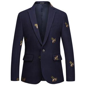 Blazer bordado de abeja Slim Fit Masculino Abiti Uomo 2019 Boda Prom Blazers Tweed de lana para hombre elegante traje chaqueta