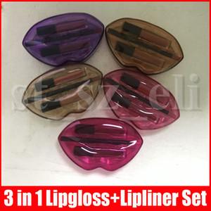 Beauté liquide Rouge à lèvres Lip Liner Set Lip Contour 3 en 1 Lip Gloss Crayon à lèvres Kit avec boîte en plastique 5 couleurs