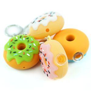 vendita all'ingrosso Donut Style Silicone piccolo bruciatore di olio tubi Handcraft colorato tubo mano Pyrex Smoking Pipes con portachiavi e ciotola di metallo