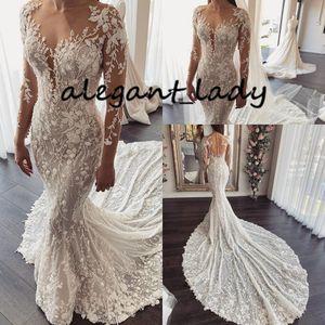 Luxury Mermaid Beach Wedding Dress with Long Sleeve 2020 Full Lace Embroidery Chapel Train Arabic Dubai Muslim Bride Gown Traine Mariage
