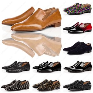 With Box Brandr Red Bottom Loafers Luxury Party Wedding Shoe Designer BLACK PATENT LEATHER Suede Dress Shoe For Mens Slip On Flats