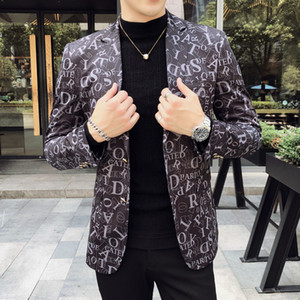 Spring Luxury Mens Blazer Wedding Party Stage Club Letter Print Jacket Chaqueta Hombre Formal Males Suits Blazers Size 5XL