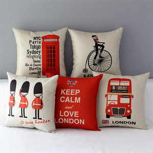 LONDON BUS Royal Guard Telephone Cushion Covers Keep Calm LOVE LONDON Sofa Pillow Cover Thick Linen Cotton Pillow Case Bedroom Decoration