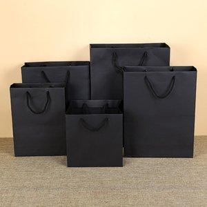 Personalizado Clássico papel preto saco de papel kraft saco de proteção ambiental roupas saco de compras biscoitos caixa de bebê saquinhos de chocolate