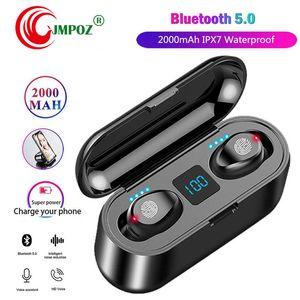 1 PCS F9 TWS Earphones Wireless Bluetooth 5.0 HIFI Earbuds Stereo Bass headset With MIC 2000mAh Rechargeable PK i10 i12 i11