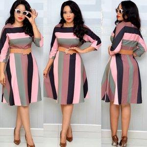 HGTE Regenbogen-gestreifter Print Damenmode-Kleid M-2XL große Regenbogenfarbe Bürokleid Geschäft Partei Temperamentkleid T200603