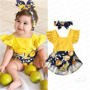 Girls Romper Dress with Headband Hair Wrap Baby Coveralls Halter Skirt With Ruffled Sleeves Jumpsuits Bodysuits One Piece Shorts DressE33002