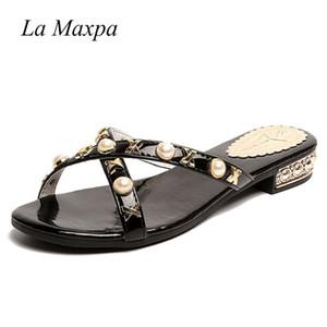 La MaxPa 2018 Revit слайд сандалии женщины роскошный дизайнер желе кожаные сандалии леди обувь V квартиры женщины шлепанцы тапочки