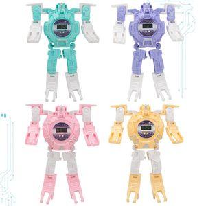 Cartoon enfants Montre électronique PVC cool Robot Montres Deformation Jeux d'enfants pour les jouets cadeau anamorphique Montre électronique 4 couleurs