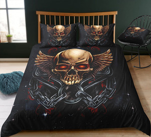 Thumbedding Bedding Set For Adult Skull Printed Duvet Cover Soft Home Textiles Skull Printed Bedclothes with Pillowcases