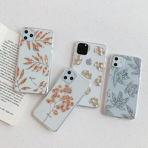 Glitter Gold Leaf transparente capa para iPhone 11 Pro X XS Max XR 8 7 11 Limpar Phone Cases tampa traseira Bling abacaxi
