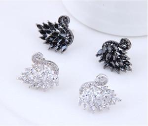 S1342 Bijoux de mode chaud S925 Silver Post Zircon Swan Boucles d'oreilles Blanc Black Swan Studing Boucles d'oreilles