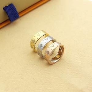 Venda quente de moda senhora 316l titanium aço esculpida quatro folhas flor v carta de noivado casamento 18k banhado a ouro anéis 3 cor size6 - 9