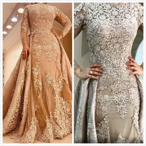 Aso Ebi 2020 Arabe musulman Luxurious Sexy Robes de soirée en dentelle perlée robes de bal sirène fête officielle Deuxième réception Robes ZJ515
