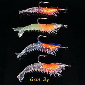 10pcs / lot de crevettes crochet de pêche crochets 4 couleurs mélangées 6cm 3G souple Appâts leurres appâts artificiels Pesca pêche Tackle Accessoires KL_40