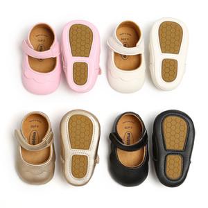 Kız bebekler Prenses Yumuşak Sole Ayakkabı Bebek Bebek Ayakkabı Pu Deri Lastik Çocuk Balerin Düz Kız İlk Yürüyenler 0-18M M1648 Ayakkabı Anti-skid