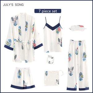 Temmuz'S SYJJF Kadın Leke İpek Yumuşak 7 adet Pijama Pijama Baskı İlkbahar Yaz Sling Şort Sonbahar Homewear pijama takımı