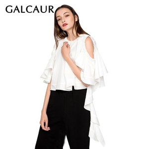 GALCAUR Alças elegante shirt para as Mulheres O Neck manga curta Ruffles Irregular Blusa Feminino Verão 2019 Moda Tide