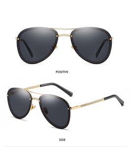 Металлические цепи Дизайн очки Мужчины Женщины моды солнцезащитные очки очки Стеклянные линзы высокого качества Классические солнцезащитные очки