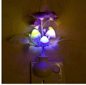 Lampada chiara bella LED colorato lilla notte fungo romantico lilla Notte di illuminazione per casa di arte della decorazione di illuminazione US / EU Plug