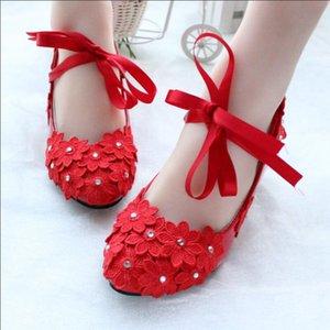 Red color lace flowers pumps shoes for women HEEL 3CM ladies girls party dinner red proms dress pumps shoe dancing shoes