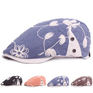 Fashion Women Cotton Embroidery Flower Beret Forward Hat Ladies Newsboy Ivy Cap Casual Flat Driving Golf Cabbie Caps for Female