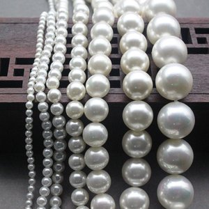 Wholesale 2-16mm Nature Round White MOP Beaded Pearl Strand 15 inch Bead Pearl Strand Spacer-Seed-Beads for DIY Jewelry Making Free Shipping