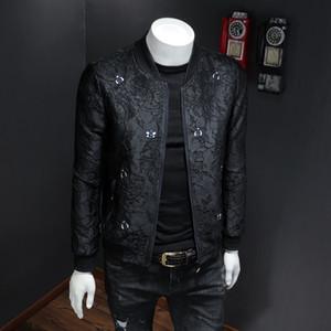 Вышитые мужские куртки 2019 весной и осенью шлифе вскользь куртка личности мужской моды платье бейсбол равномерное прилив