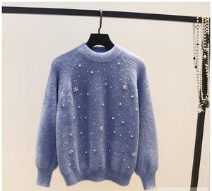 ВЫСОКОЕ КАЧЕСТВО Новое поступление в 2019 году Бисер имитация цветка мохер мохер свитер женский мода дикий дно свитер топ