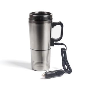Taşınabilir Gümüş Paslanmaz Çelik Araç Su Isıtma Kahve İçin Termos Tipi Sıcak İçecek Su Isıtıcı 12V Mini Araç Elektrikli Su Isıtıcıları