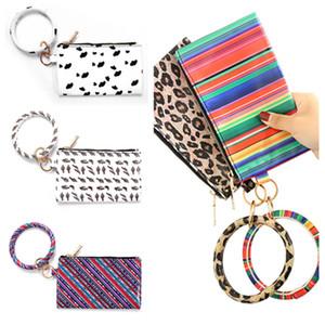 Bracelet Keychain Leather Wrist Key Ring Handbag Leopard Bracelets Pendant Purse Lady Clutch Bag Hand Carry Bags Phone CaseT2I51011