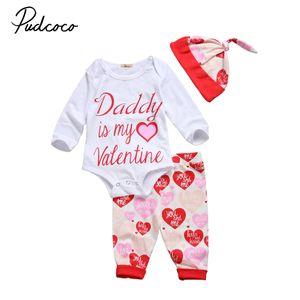 0-18m Pudcoco 3PCS Infant Toddler Bébés filles Pantalons manches longues Romper Chapeau Tenues Vêtements Set