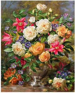 """Numaralarına göre DIY Boyama Yağlı Boya Kitleri Boya Yetişkin El Boyalı-Kraliçe Elizabeth çiçek 16 """"x 20"""""""