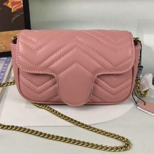 Rosa Womens treinador Bolsas Bolsas Bolsas clássico cadeia de bolsa retro elegante Crossbody sacos de telefone Pockets bolsas sacolas Size17x10x5cm