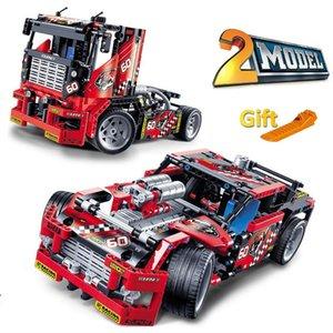 608pcs سباق شاحنة سيارة 2 في 1 للتحويل بناء نموذج كتلة مجموعات Decool 3360 اليدويه ألعاب متوافق مع تقنية 42041 J190722