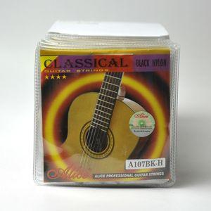 10Sets Alice Classical Guitar Strings Nylon Preto revestido de liga de cobre ferida A107BK-H