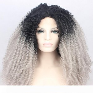 A Free Shipping Black Ombre Gray Afro Kinky Curly Lace Front Wigs With Baby Hair Heat Resistant Glueless Synthetic Wig For Black Women