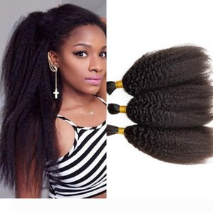 Brazilian Kinky Straight Hair Bulks for Black Women No Weft 3 Bundles Bulk Human Hair Extensions 8-28 inch FDSHINE