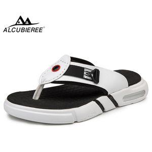 ALCUBIEREE yaz erkek Flip flop açık kalın topuk terlik erkek Hava yastığı sandalet adam nefes PU deri Plaj ayakkabısı
