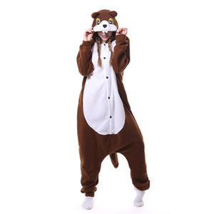 Brown Squirrel Onesie Kigurumi Polar Fleece Women Adult Animal Pajama Jumpsuit Loose Cute Festival Fantasias Cartoon Onepiece