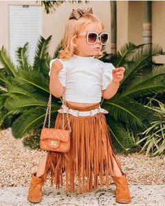 New Toddler Girls Summer Clothes Sets Short Puff Short Sleeve White Tops Tassel Straight Skirts 6M-5Y