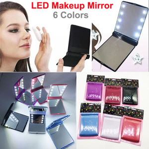 Espejo de maquillaje LED Mini portátil plegable Lady Cosmetic Mirror Travel Make Up Espejos de bolsillo con 8 luces LED para mujeres