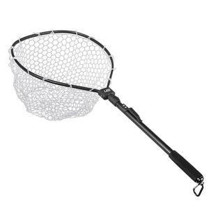 LEO liga de alumínio dobrável Pesca Brail borracha macia Landing Net Eva Handle Fishing Nets Rubber malha de liga de alumínio