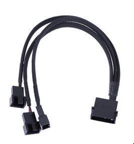 100pcs nero con maniche a 4 pin IDE Molex a 3/4-Port 3Pin / 4 pin dispositivo di raffreddamento cavi della ventola Splitter Cavo di alimentazione ambientali