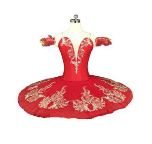 Costume de Tutu Costume de Concours de Crêpes Rouges Performance Compétition Professionnelle Tutus Ballerine Tutu Adulte Classique Or Rouge Ballet Tutu Enfants