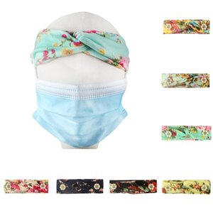 DHL shipping Elastic Hairbands With Button for Mask Yoga Headband Women Headwear Wide Stretch Hair Band Charm Floral Band 12 Styles L211FA