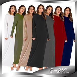 Оптовые Женщины с длинными рукавами платья макси S-2XL плюс размер женщин вокруг шеи Pure Color Модальные футболка