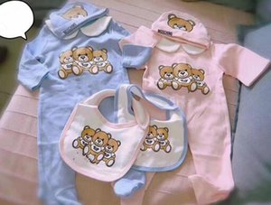 Baby Bear Jumpsuits + Hat + Bib 3 pcs Set Fall Kids Boutique Clothing Infant Toddler Rompers Boys Girls Long Sleeves Bodysuits