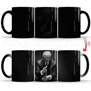 매직 열 민감한 녹차 우유 컵 창조적 인 커피 차 머그컵 RRA2048 변경 도널드 트럼프 세라믹 커피 머그컵 컬러